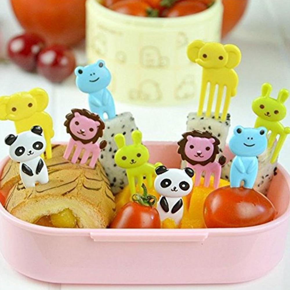10 шт. случайные животные фрукты вилки для еды для детей Кухня Мини мультяшный детский Снэк торт десерт вилки столовые приборы для кемпинга D1