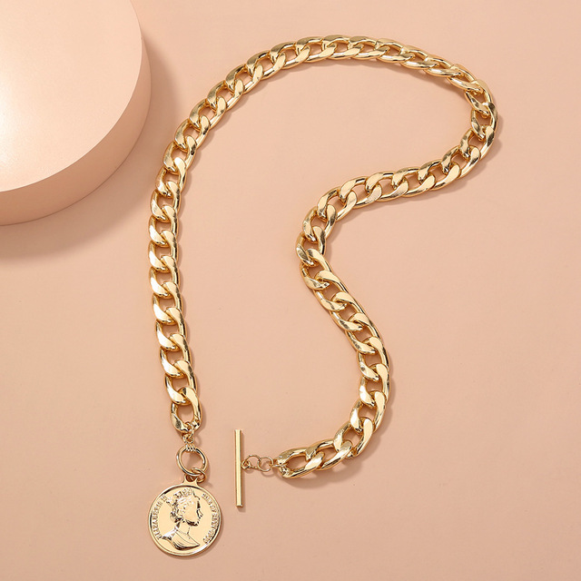 Thick and pretty chain necklace with coin pendant 1