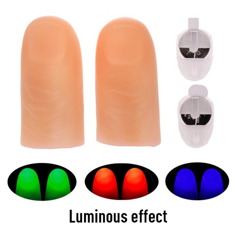 1 Pair Creative Magic Makers Red Light Up Thumb Tips With LED Red Magic Thumb Tip Light Illusion Soft Standard Size 2 Pcs Props