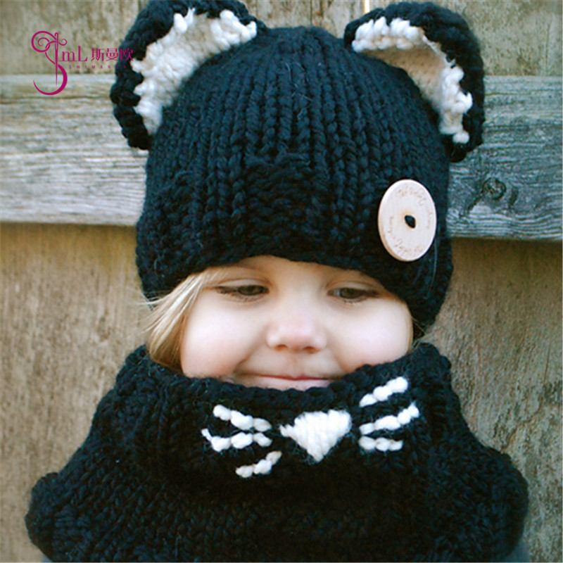 Scarf Cap Animal Cat Earmuffs Infant Hat Winter Baby Hat With Fox Scarf Boy Girl Hat Warm Hooded Scarf Shawl Europe And America
