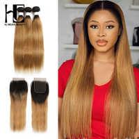 HJ Weave Beauty-extensiones de pelo ondulado precoloreado, cabello humano Remy liso peruano 1B 613/99J /BURG/30/27