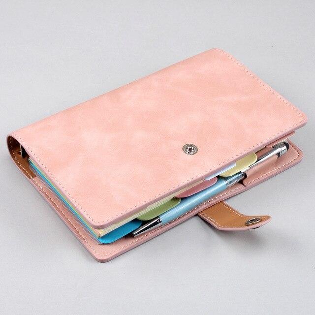 Cuaderno con hebilla Kawaii A6, cuadrícula de dibujos animados en blanco, precioso diario planificador diario, Bloc de notas para niños, papelería de regalo coreana