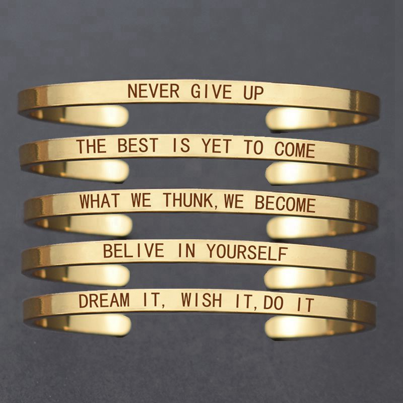 """Inspirational Bracelet \"""" Never Give Up \"""" Letters Engraved Gold/ Rose Gold/ Silver Tone Cuff Bracelet Women's Accessories"""