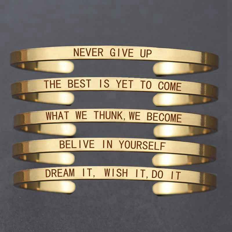 """Inspirujący bransoletki """"nigdy się nie poddawaj"""" litery grawerowane złoty/różowe złoto/srebrny Tone mankiet bransoletka damska akcesoria mody"""