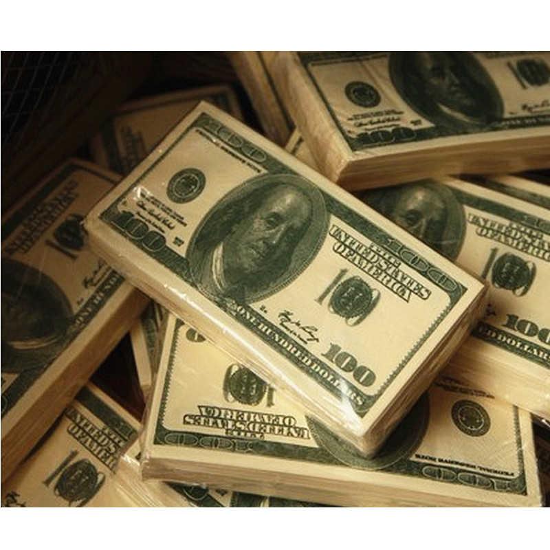 1 pçs banquete de papel higiénico dólar cor-de-rosa tecido festa guardanapo us dinheiro presente casa ornamentos decalque casa dólar tissu