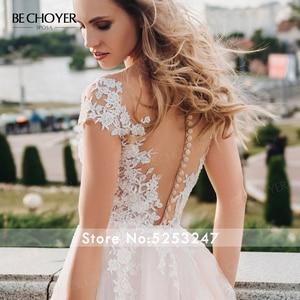 Image 5 - BECHOYER מתוקה אפליקציות חתונת שמלת עדין ורוד אשליה אונליין משפט רכבת נסיכת הכלה שמלת Vestido דה Noiva FY06