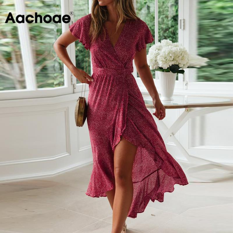 Aachoae Summer Beach Dress Women Floral Print Long Bohemian Dress Short Sleeve Boho Style Maxi Dress Ruffles Sundress Vestidos