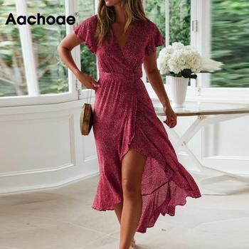 Letnia sukienka plażowa Aachoae kobiety kwiatowy Print długa artystyczna sukienka z krótkim rękawem styl Boho Maxi sukienka letnia sukienka z falbankami Vestidos tanie i dobre opinie Szyfonowa Poliester Dopasowanie i pochodni 7601 Lato V-neck Płatek rękaw WOMEN Ruffles Czeski empire Drukuj Kostek S M L XL XXL