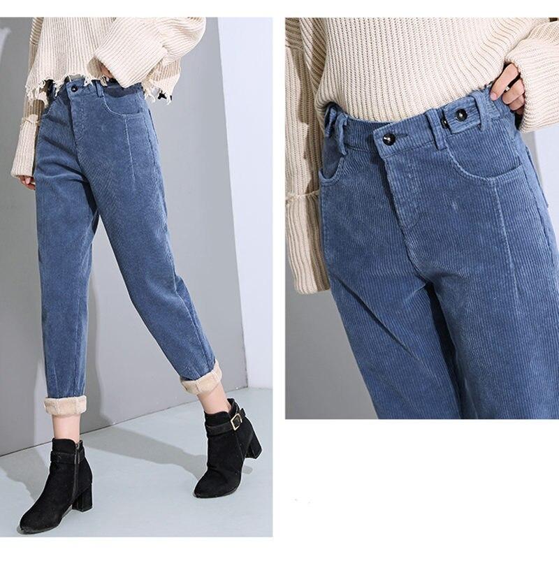 Autumn Winter High Waist Corduroy Harem Pants Women Plus Size Loose Black Pants Women Long Plus Velvet Trousers Sweatpants C5803 33