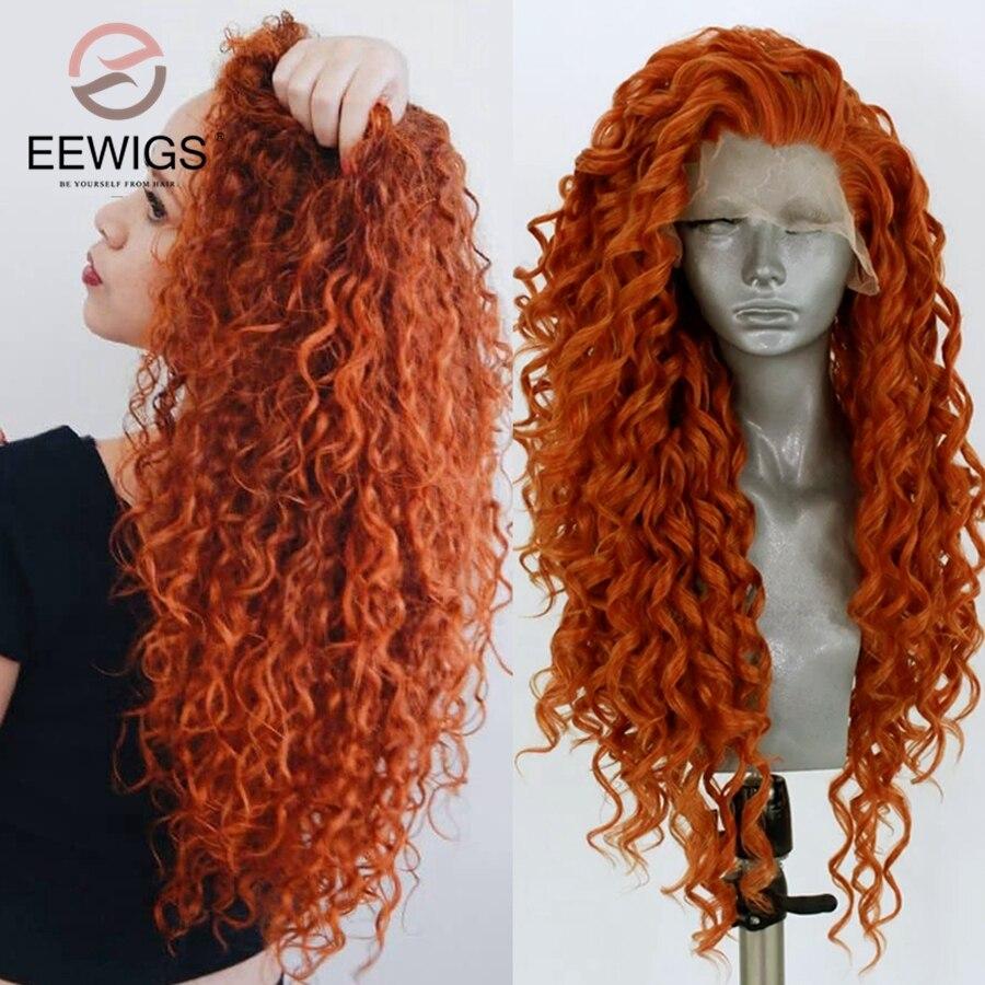 EEWIGS, peluca con malla frontal rizada sintética medio verde y azul, recta, densidad 180%, pelucas rizadas azules resistentes al calor para mujeres negras