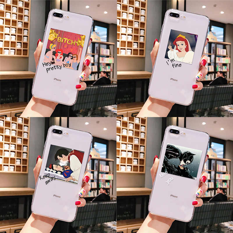 Funny cute girl princess batman Transparent TPU Soft Phone Case Cover for iPhone 11 pro XS MAX 8 7 6 6S Plus X XR 5 5S SE