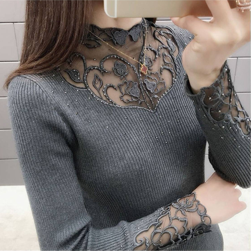 New Ladies Slim Fashion Outerwear Lace Collar Sexy Bottoming Shirt Warm Casual Western Long Sleeve Tops Women