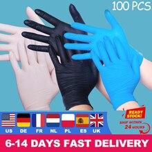 100PCS שחור חד פעמי כפפות לשטיפת כלים לטקס/מטבח/עבודה/גומי/גן כפפות אוניברסלי גמיש מקצוע להגן