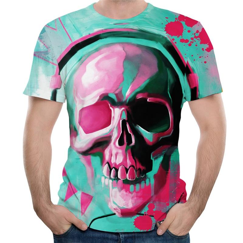 Skull T Shirt Men Summer Skull 3d Print Short Sleeve T Shirt Punk Rock Clothes Funny Hip Hop Streetwear Skull T Shirts