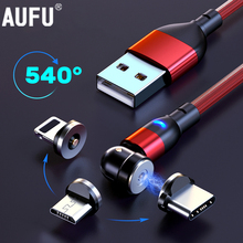 AUFU 540 Degrees Rotating Magnetic Cable Micro USB Type C Phone Cable For iPhone11 Pro XS Max Samsung Xiaomi USB Cord Wire Cable