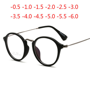 -1 -1.5 -2 -2.5 -3 -3.5 -4 -4.5 -5.0 -5.5 -6.0 Classic Small Round Myopia Glasses With Degree Women Men Black Glasses Frame image