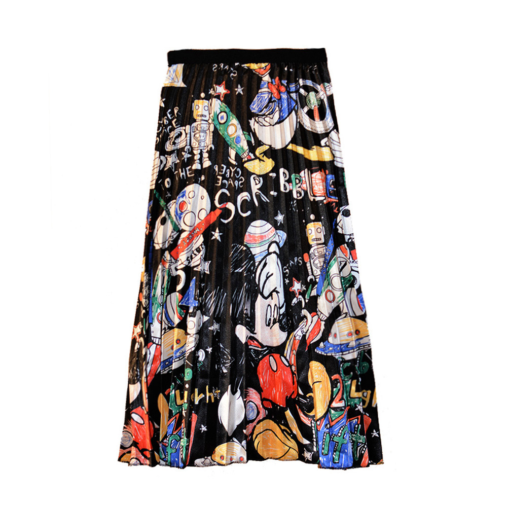 Women's Pleated Skirt Illustration Mouse Skirts Cartoon Japan Harajuku Summer Print High Waist A-line Midi Skirts Female SP9528