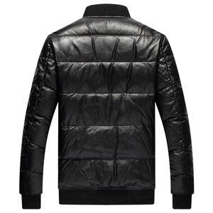 Image 4 - YR! Spedizione gratuita. Classico stile casual cuoio genuino jacket.80 % piume danatra bianca cappotto di pelle di pecora. Inverno caldo abbigliamento in pelle