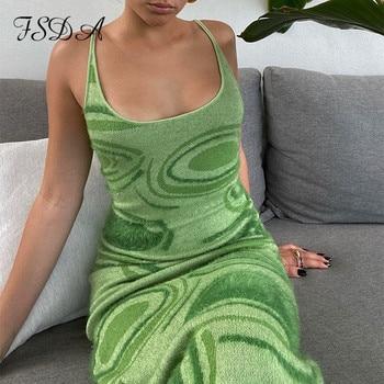 FSDA 2021 принт вязаное облегающее платье женское зеленое Y2K летнее Открытое сексуальное платье без рукавов на бретельках пляжное платье миди платья Вечерние 4