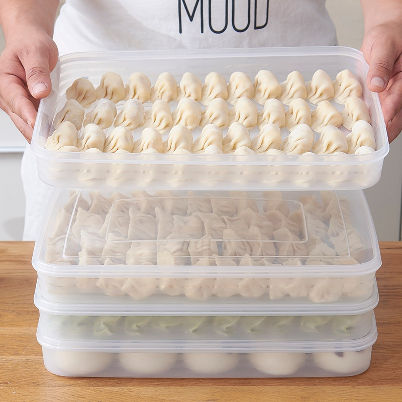 2 Layer Dumpling Box Refrigerator Food Container No Divide Kitchen Transparent With Cover Plastic Storage Box 35*25*9cm Mx621113