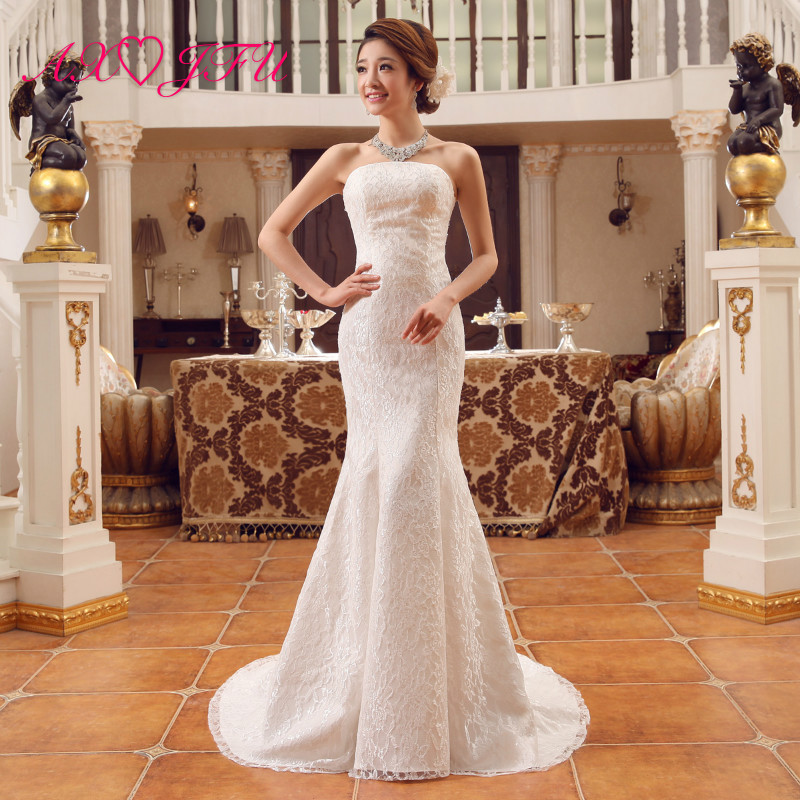 AXJFU Luxury Flower Lace White Mermaid  Wedding Dress Vintage Strapless Sleeveless Flower Trumpet White Wedding Dress