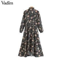 Vadim vrouwen bloemen patroon print midi jurk terug rits lange mouw vrouwelijke casual vintage chic jurken vestidos QD108