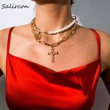 Salircon White Imitation Pearl Alloy Geometric Necklace Luck Round Angel Avatar  Sign Gold Sliver Charm Pendant Jewelry