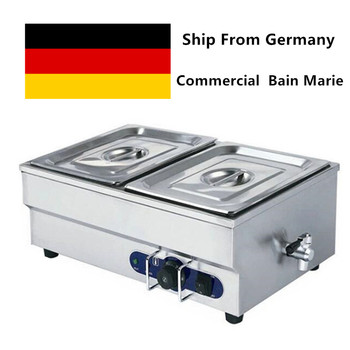 Commercial Food Warmer Electric Bain Marie Two Pans Steamer Household 20 Liters 220V For Restaurant Catering