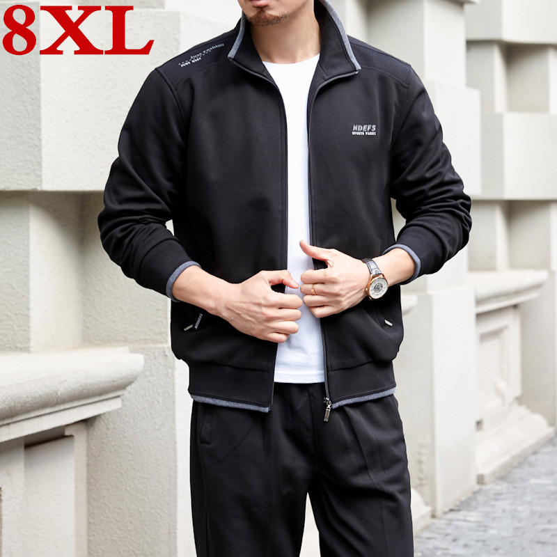 New Plus Size 8XL Men's  Set  Spring Autumn Cotton Man Sportswear 2 Piece Sets Sports Suit Jacket+Pant Sweatsuit Male Tracksuit