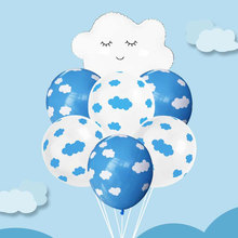 Blue Sky White Cloud Foil Balloon Kids Toys Latex Balloon Happy Birthday Decoration Party Balloons Baby Shower Party Balloon transport theme balloon set latex balloon banner cake topper for happy birthday party decoration kids birthday balloons for kids