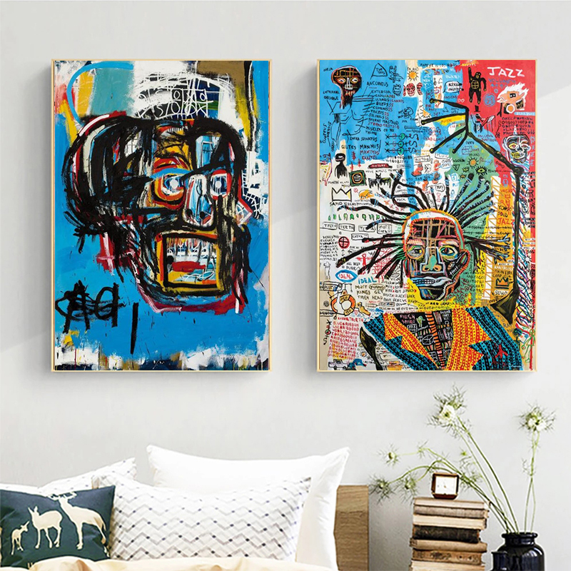 Abstract funny graffiti painting Jean Michel art poster and weird image on the wall for living room decoration