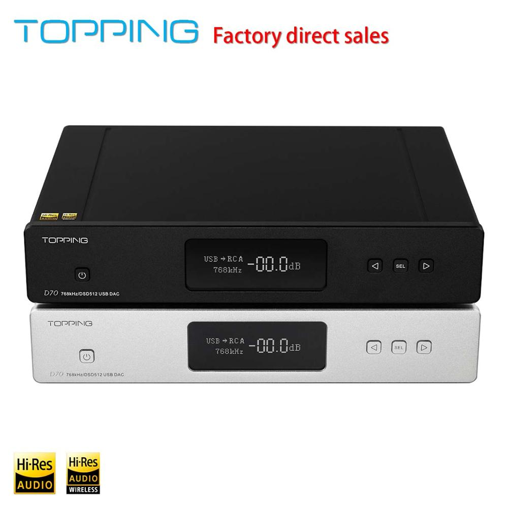 <font><b>Topping</b></font> <font><b>D70</b></font> 2 * AK4497 USB DAC DSD512 32bit / 768 kHZ AK4118 USB DAC XMOS Desktop Decoder Support USB / Optical / Coaxial / ISS image