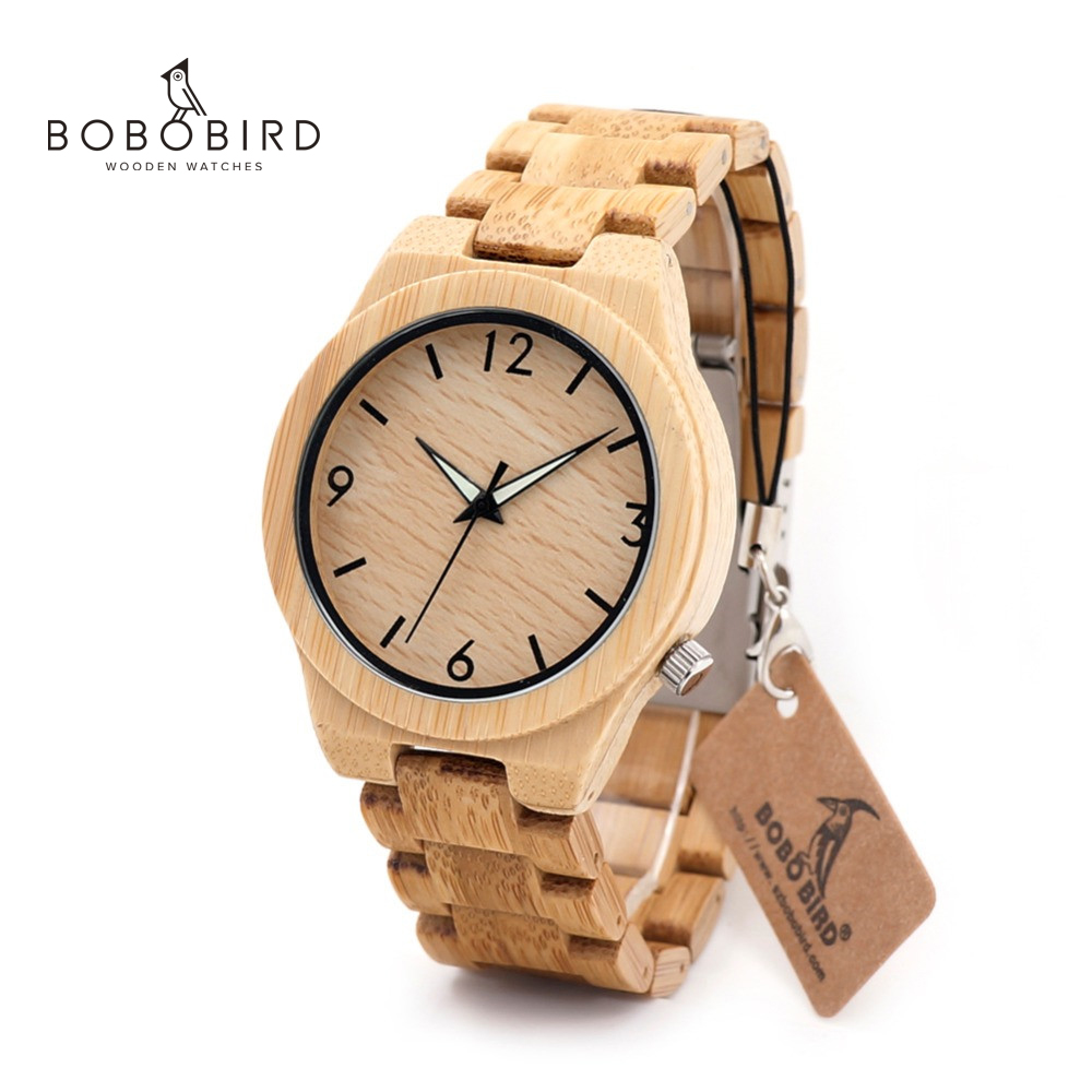 BOBO BIRD L-D27 Luminous Hand Natural All Bamboo Wood Watches Top Brand Luxury Men Watch With Japanese Movement For Gift