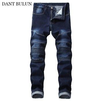 Mens Jeans Fashion Slim Skinny Moto Biker Jeans Straight Motorcycle Pants Men Pleated Denim Trousers Streetwear For Men Jeans