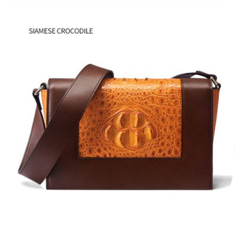 FENGE Thai Crocodile Bag For Women One Shoulder Bag Thai Leather Diagonal Cross Bag Crocodile Bag For Women New Style