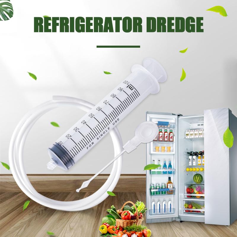 Refrigerator Drain Dredge Cleaning Set Long Flexible Brush Fridge Hole Cleaner Scrub Brush Home Suction Syringe Cleaning Device