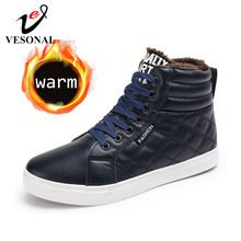 VESONAL 2019 Winter Fashion Leather High Top Sneakers Men Shoes With Fur Plush Warm Casual classic Comfortable Male Footwear