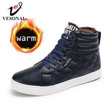 VESONAL 2019 kış moda deri yüksek Top Sneakers erkek ayakkabısı ile kürk peluş sıcak rahat klasik rahat erkek ayakkabı