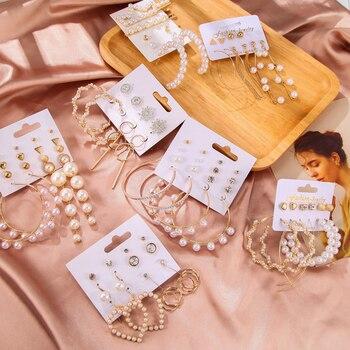Women's Earrings Set Tassel Pearl Earrings For Women Bohemian Fashion Jewelry 2020 Geometric kolczyki Hoop Earings 5