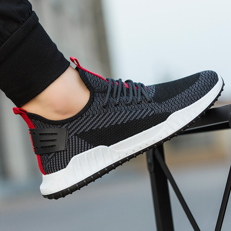 2021 spring new sports shoes men's fashion leisure shoes flying woven foreign trade running shoes men's shoes