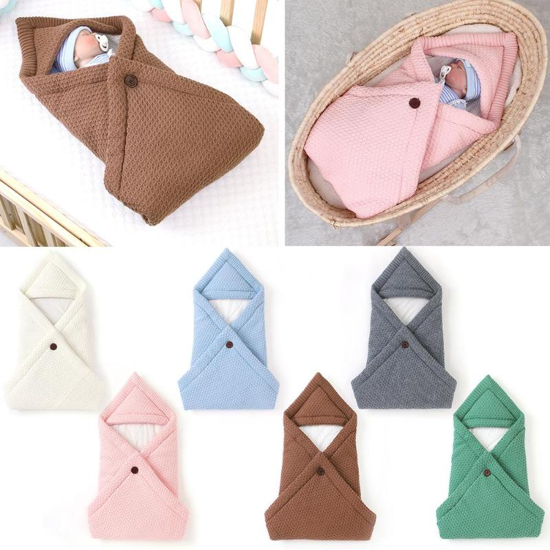Knitted Baby Sleeping Bag Non-woven Blanket Swaddle Newborn Infant Stroller Mattress Wrap Envelopes Kid Bedding Accessories