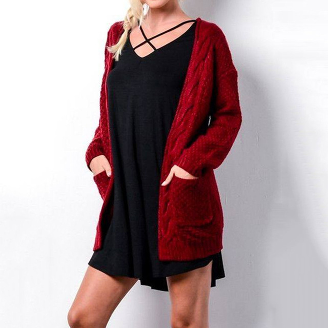 LOGAMI Long Cardigan Women Long Sleeve Knitted Sweater Cardigans Autumn Winter Womens Sweaters 2017 Jersey Mujer Invierno 2