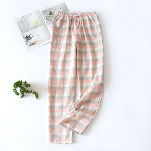Women's Summer Pants Dot Color Trousers Cotton Pajamas Double-layer Home Pajama Pants Thin Loose Pants Plus Size Sleep Bottoms