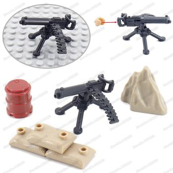 Military Figures Maxine Heavy Machine Gun Weapons Building Block Equipment Diy WW2 Army Battlefield Model Moc Christmas Gift Toy