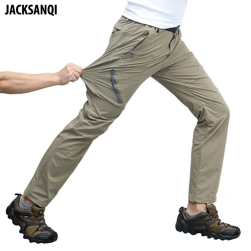 JACKSANQI 8XL Summer Men's Elastic Quick Dry Pants Outdoor Sport Mountain Climbing Hiking Trekking Fishing Thin Trousers RA293