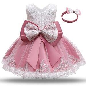 1 год, платье для новорожденных девочек, одежда с большим бантом, официальное платье для девочек на день рождения, платье для крещения, платья