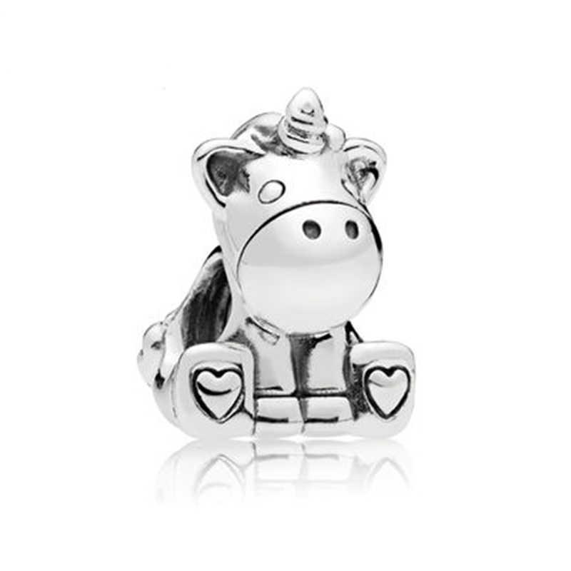 BRACE kodu gümüş kaplama erkek kız Mickey Unicorn boncuklu kolye marka bilezik bilezik ve kolye DIY takı yapımı