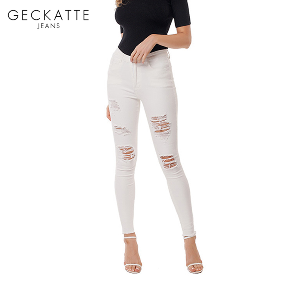 GECKATTE White Skinny High Waisted Mom Jeans Woman Ripped Distressed Hole Boyfriend Jeans For Women Jean Skinny Pants Female