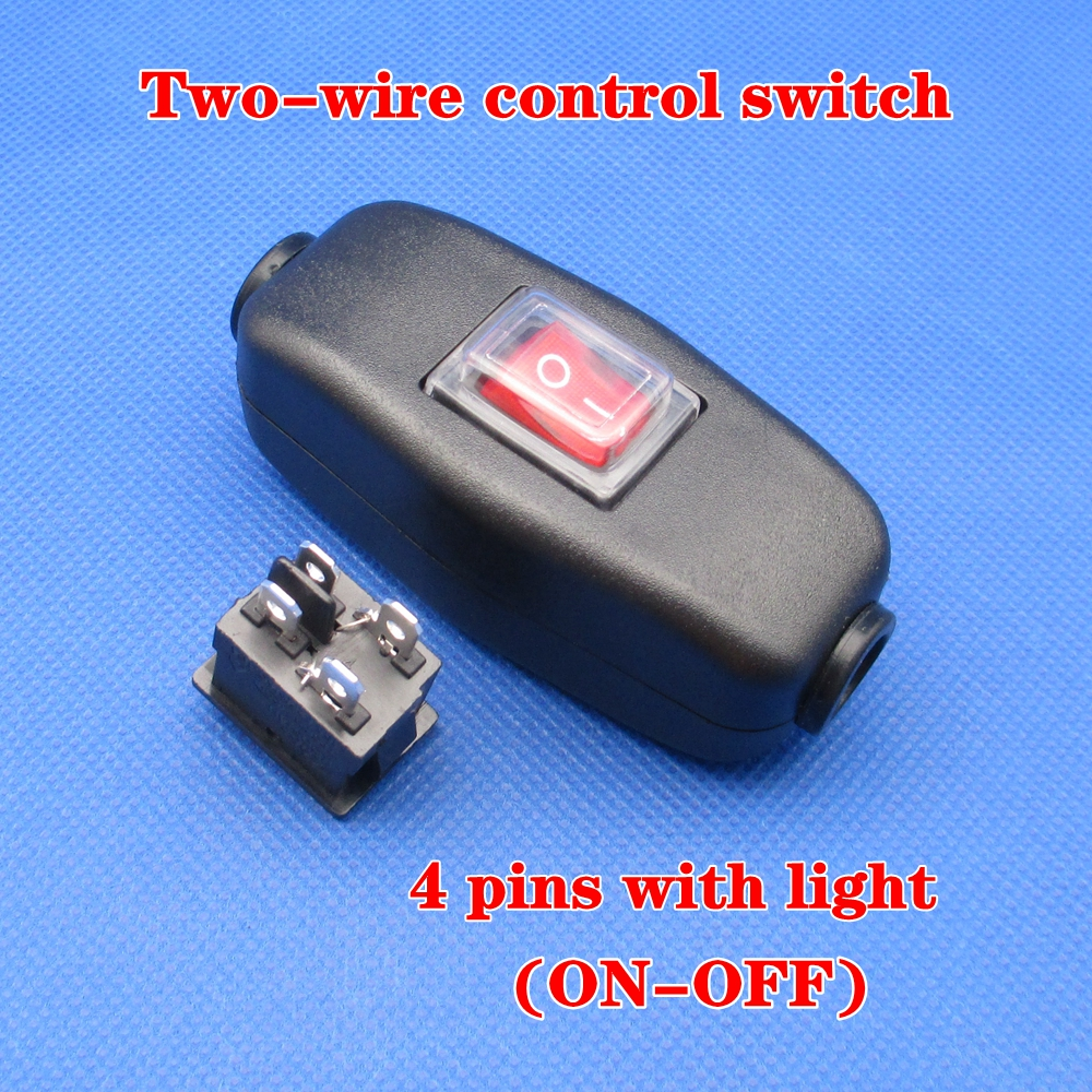 >1pcs Waterproof <font><b>switch</b></font> 4 pins Two-wire control in line ON OFF Table <font><b>Desk</b></font> Lamp Cord Cable <font><b>Switch</b></font> with Indicator Light 6A 250VAC