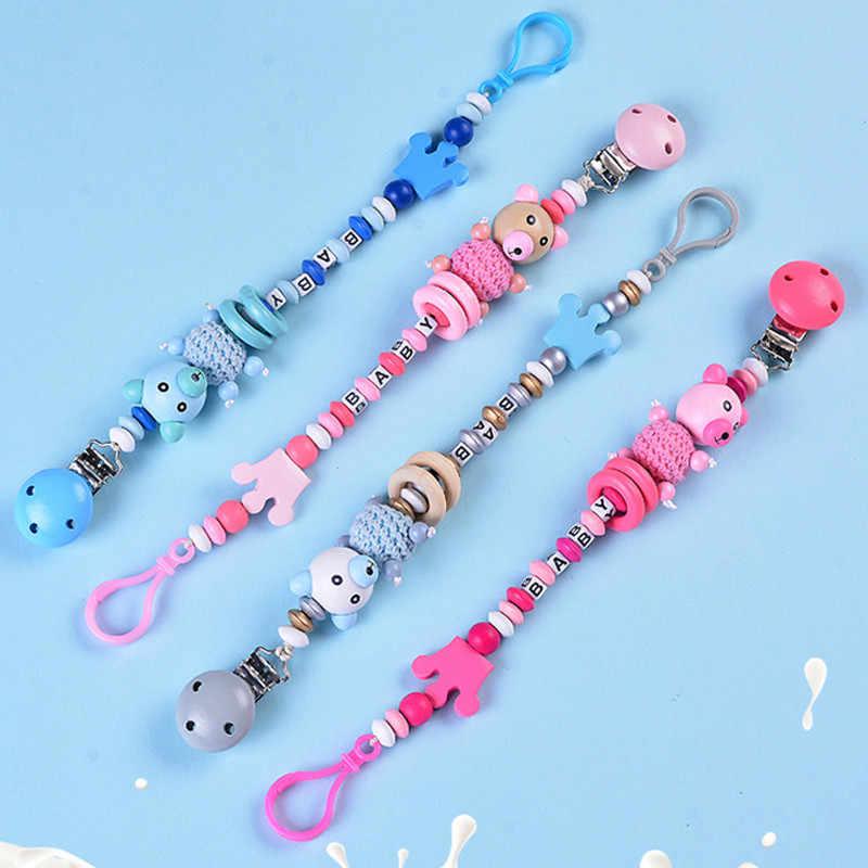 Cadena de chupete para bebé, cadena de chupete para bebés, niños y niñas, letras de oso de dibujos animados bonitos, cadena de chupete de corona, tetina de alimentación para bebés